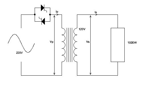 Diagram thyristor and transformer with MoSi2 heater
